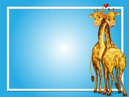 Design de moldura com duas girafas vetor
