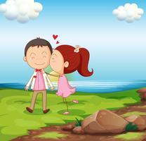 Um casal doce perto do rio vetor