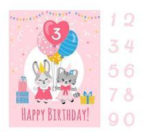 modelo de cartão de festa de aniversário com números, coelho e gatinho segurando balões.vector ilustração plana. vetor