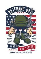 crachá do dia dos veteranos vetor