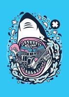 rock de tubarão raivoso vetor