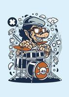 baterista de lobo engraçado vetor