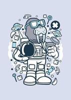 desenho animado de astronauta morsa vetor