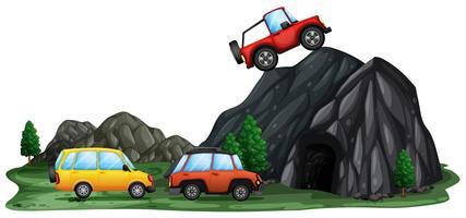 Carro offroad na montanha vetor