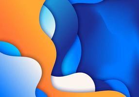 formas abstratas de onda azul 3d ou gradiente líquido de fundo papel estilo de arte vetor
