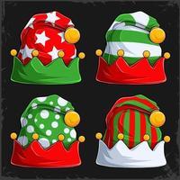 Natal inverno lã elfos chapéus coleção natal bonés verdes e vermelhos bonés natal feriados bonés vetor