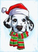 cabeça de cachorro dálmata de natal engraçado com chapéu e lenço de papai noel, cachorro dálmata de natal vetor