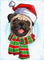Engraçado e sorridente cabeça de cachorro pug natal com chapéu de Papai Noel e cachecol, cachorro pug natal vetor