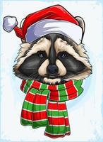 cabeça de guaxinim de natal engraçada com chapéu de Papai Noel e lenço, guaxinim cinza e bege de natal vetor