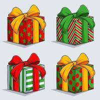 Natal lindos presentes em papel de embrulho colorido com laços e fitas. gifs de natal de inverno vetor