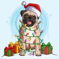 cão pug com chapéu de Papai Noel sentado e rodeado por luzes da árvore de natal e presentes nas laterais do corpo vetor