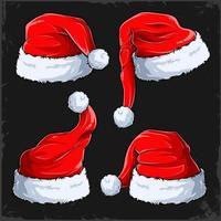 conjunto de chapéus de natal papai noel com coleção de peles quatro chapéus vermelhos de ano novo chapéus de inverno vetor