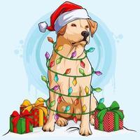 cachorro labrador com chapéu de Papai Noel sentado e rodeado por luzes da árvore de natal e presentes nas laterais do corpo vetor