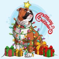 cachorro bulldog inglês sentado e cercado por luzes da árvore de natal e presentes nas laterais do corpo vetor