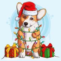 cachorro welsh corgi com chapéu de papai noel sentado e rodeado de luzes da árvore de natal e presentes nas laterais do corpo vetor