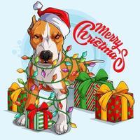 cachorro pit bull com chapéu de Papai Noel em pé e rodeado por luzes da árvore de natal e presentes nas laterais do corpo vetor