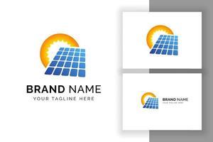 modelo de design de logotipo de energia solar sol. símbolo de sinal de tecnologia de painel solar vetor