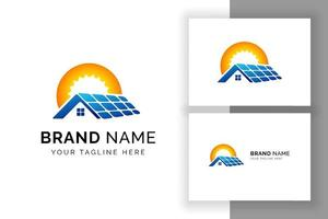 modelo de design de logotipo de energia solar sol. símbolo de sinalização de tecnologia de painel solar vetor