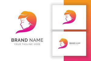 modelo de logotipo de beleza de mulheres. silhueta da cabeça das mulheres. vetor