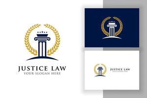 modelo de design de logotipo de lei de justiça. ilustração da forma do pilar e da estrela. vetor