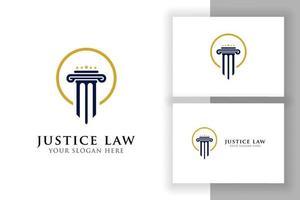 design do logotipo da lei de justiça. logotipo do advogado com pilar e forma de estrela vetor