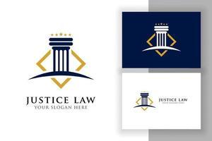 modelo de design de logotipo de lei de justiça. ilustração em forma de pilar e estrela vetor