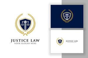 modelo de design de logotipo de distintivo de lei de justiça. emblema do vetor do logotipo do advogado