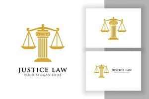 modelo de design de logotipo de lei de justiça. projeto de vetor de logotipo de advogado. ilustração vetorial de escalas e pilar da justiça