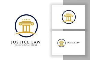 modelo de design de logotipo de pilar no círculo. modelo de design de logotipo de lei de justiça e advogado vetor