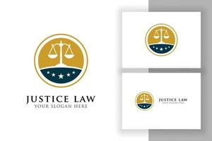 modelo de design de logotipo de distintivo de lei de justiça. emblema do logotipo do advogado de desenho vetorial com escalas e ilustração de estrelas vetor