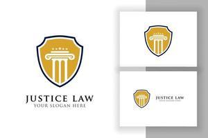 emblema do modelo de design de logotipo de lei de justiça. pilar e forma de estrela vetor