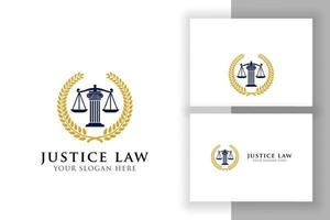 modelo de design de logotipo de distintivo de lei de justiça. emblema de design de vetor de logotipo de advogado. escalas e ilustração vetorial de pilar