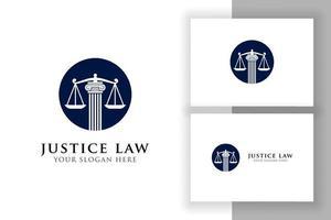 modelo de design de logotipo de lei de justiça. projeto de vetor de logotipo de advogado. escalas e logotipo de ilustração vetorial pilar no círculo