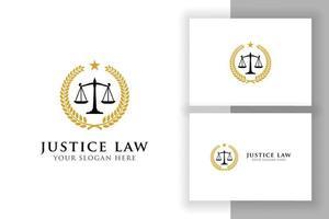 modelo de design de logotipo de distintivo de lei de justiça. emblema de design de vetor de logotipo de advogado. ilustração vetorial de escalas