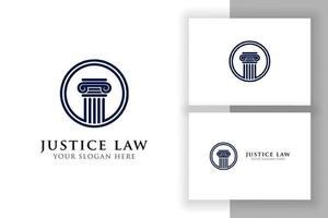 modelo de design de logotipo do pilar. lei da justiça e modelo de design de logotipo de advogado no círculo vetor