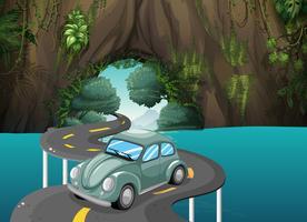 Uma estrada curva passando pela caverna