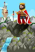 Rei e espada na pedra vetor