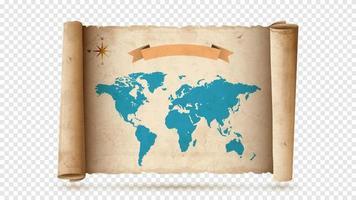 rolo de papel antigo ou pergaminho com mapa antigo vetor