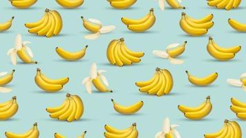 fundo de banana, ilustração em vetor estilo realista 3D, gráfico de design de banana