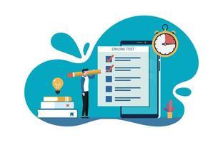 teste on-line, homem preenche formulário de avaliação on-line na tela do smartphone por meio de ilustração vetorial de internet vetor
