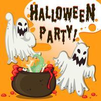 Tema de Halloween com fantasma e pote