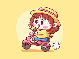 Garota fofa e kawaii com chapéu de palha andando de scooter para ilustração manga chibi de entrega vetor