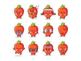 Ilustração de adesivo de morango fofo e kawaii com várias atividades e expressões para mascote vetor