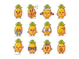 Ilustração de adesivo de abacaxi fofo e kawaii com várias atividades e expressões para mascote vetor