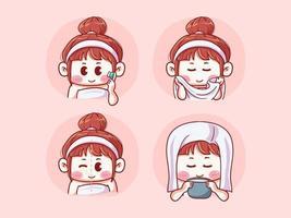 Garota fofa e kawaii antes e depois de garota propensa a acne lavando o rosto com escova de limpeza, enxugando com toalha, rosto fumegante ilustração de mangá chibi vetor