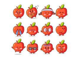 Ilustração de adesivo de maçã fofo e kawaii com várias atividades e expressões para mascote vetor
