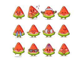 Ilustração de adesivo de melancia fofa e kawaii com várias atividades e expressões para mascote vetor
