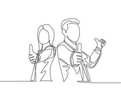 um desenho de linha do jovem casal feliz empresário e empresária dando polegares para cima gesto. grande conceito de trabalho em equipe de negócios. ilustração em vetor desenho gráfico em linha contínua