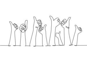 um desenho de linha de pessoas braço levantando as mãos com os polegares para cima gesto. excelência de bom serviço no conceito de sinal do setor empresarial. ilustração em vetor desenho gráfico linha contínua