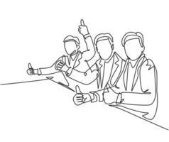 um desenho de linha do jovem empresário feliz e empresária dando polegares para cima gesto durante a reunião de negócios. grande conceito de trabalho em equipe de negócios. ilustração em vetor desenho desenho em linha contínua